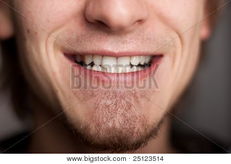 Men's teeth. Close up.