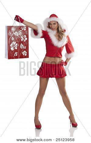 Sexy Posing Christmas Shopping Girl