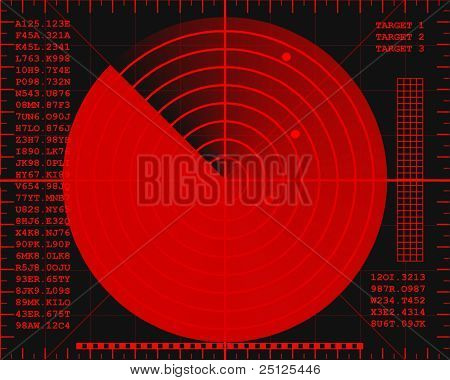 red radar screen on a black background