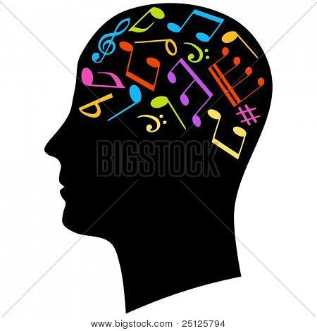 Male head silhouette thinking of music