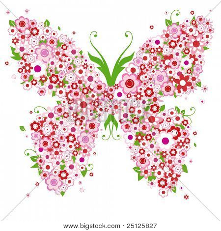 abstract floral background with butterfly and flowers