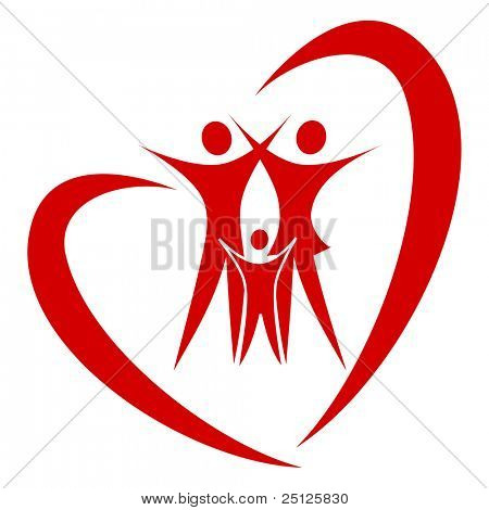 abstract heart family vector