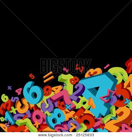 Abstract mathematics background with colorful numbers