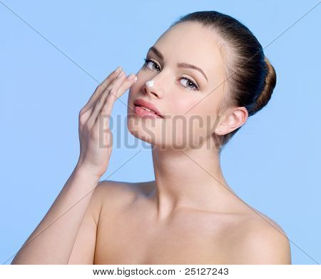Sexy Young Girl With Cream On Her Nose