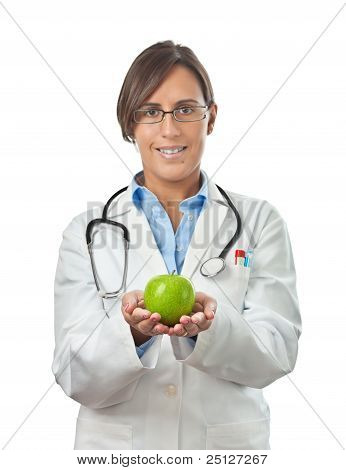 Doctor Showing An Apple With Both Hands