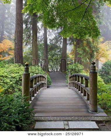 Foggy Morning At Wooden Foot Bridge At Japanese Garden