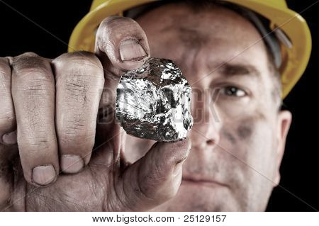 Silver Miner With Nugget