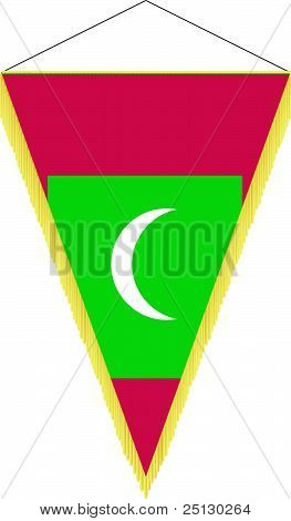 Vector Image Of A Pennant With The National Flag Of Maldives