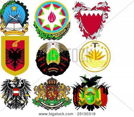 Conjunto de vetores de brasões de armas do mundo