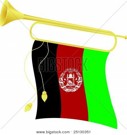 Vector Illustration Bugle With A Flag Afghanistan
