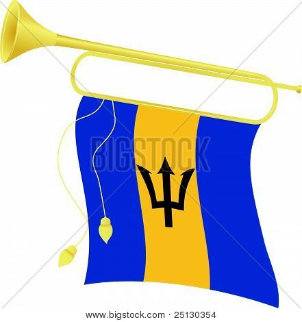 Vector Illustration Bugle With A Flag Barbados