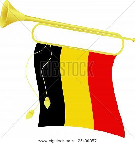 Vector Illustration Bugle With A Flag Belgium