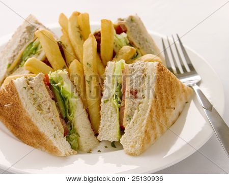 Tuna sandwich served with french fries