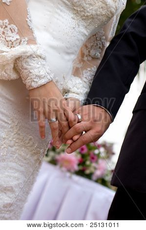 Bride and groom holding hands showing the wedding rings