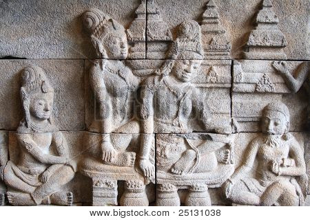 Authentic ancient bas relief found in central Java, Indonesia