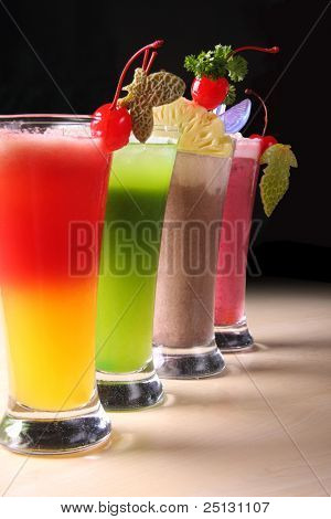 A Row of colorful juices