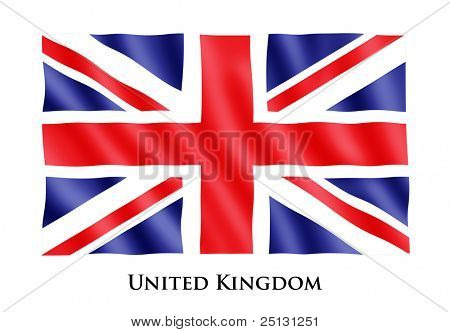 Waving flag of Great Britain, clipping path included