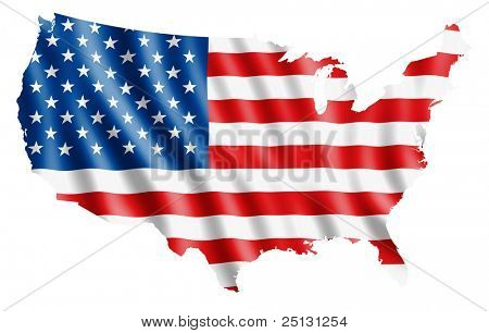 Map of USA filled with a waving flag. Clipping path included