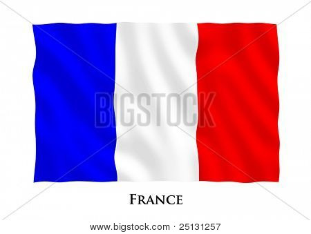 Waving flag of France, clipping path included