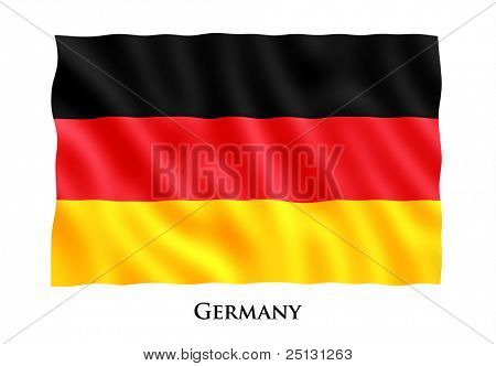 Waving flag of Germany. Clipping path included