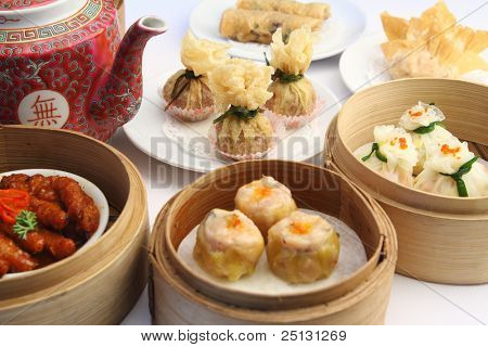 Dimsum-Auswahl in Bambus-Dampf-Container