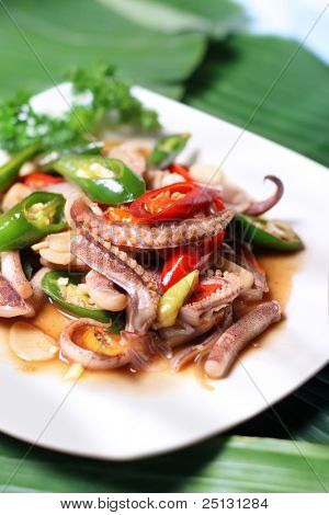 asian spicy squid seafood dish
