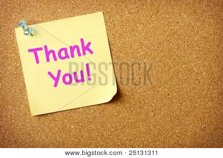 Thank You note pinned to corkboard background