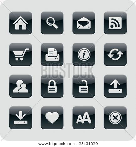 Glossy Internet / Web Icons | Black series