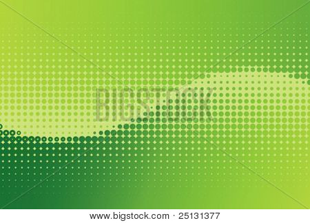 Vector green contrast halftone wave background