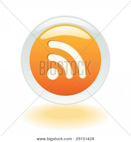 Glowing RSS Feeds button in Vector format