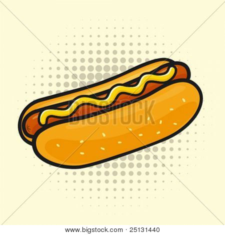 Delicious hot dog. Halftone background is grouped separately for easy edit.