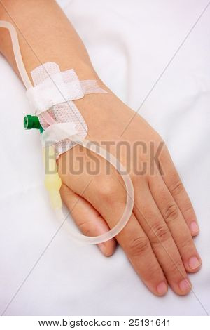 close up of a iv drip in patient's hand