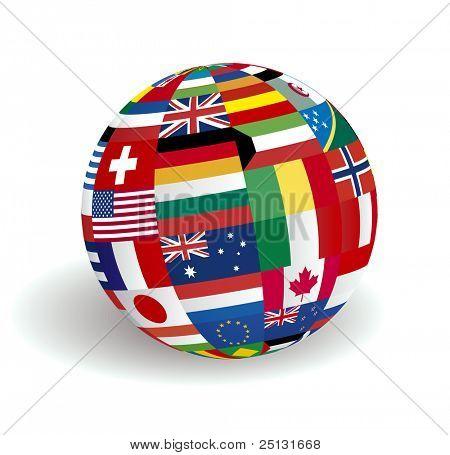 Die Kugel-Welt-flags