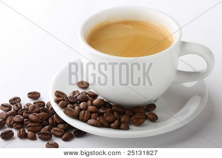 Cup of coffee latte with coffee bean