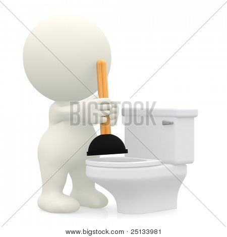 3D person unblocking the toilet with a plunger - isolated over white