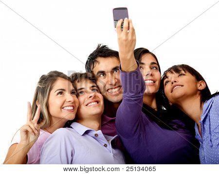 Group of people taking a self-portrait with their phone, isolated