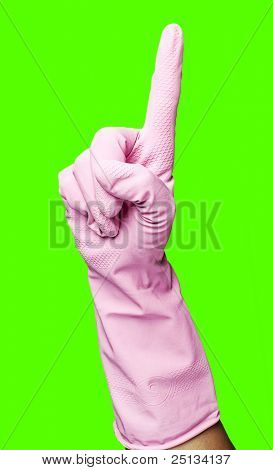 pink gloves gesturing one against a removable chroma key background