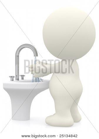 Homem 3D, lavar as mãos - isoladas sobre um fundo branco
