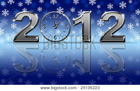 Silver 2012 Happy New Year Clock With Snowflakes
