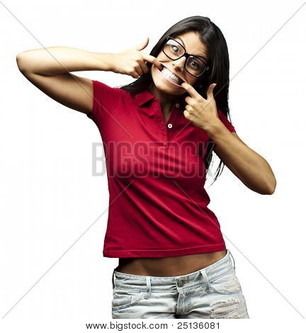 portrait of happy young woman doing a grimace over white background