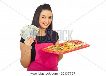 Confectioner Holding Money