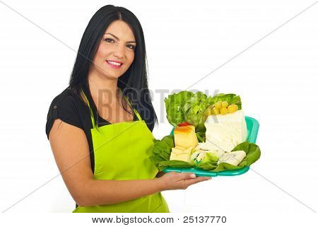 Happy Market Worker Holding Cheese