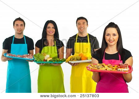 Confectioner Woman And Market Workers Team