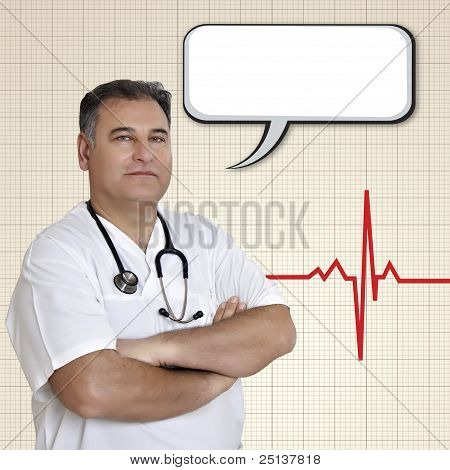 Male Doctor With Empty Speech Bubble