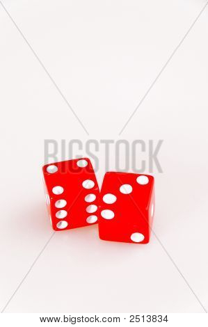 Isolated Lucky Red Dice Showing Seven Total