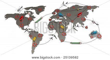 3D Global Transport Routes Concept