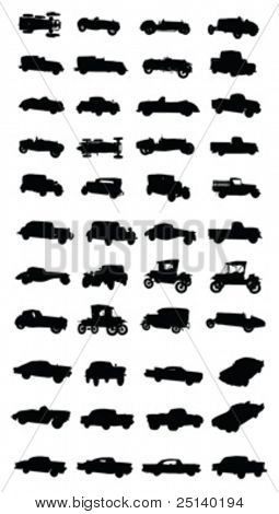 Various vintage cars silhouettes