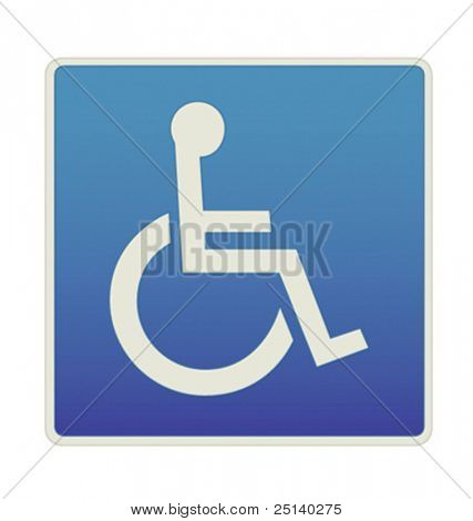 Disabled People Only Permit - Vector Road Sign Icon