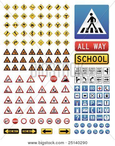 Große Sammlung von Vektor-Verkehr-Zeichen-icons