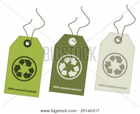 Recycled material tags set